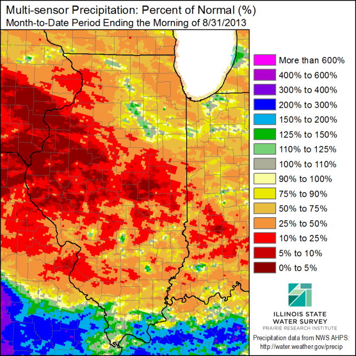 August 2013 precipitation, departure from average. Click to enlarge.