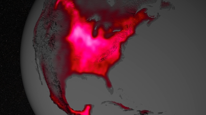 The magnitude of fluorescence portrayed in this visualization prompted researchers to take a closer look at the productivity of the U.S. Corn Belt. The glow represents fluorescence measured from land plants in early July, over a period from 2007 to 2011. Image Credit: NASA's Goddard Space Flight Center.