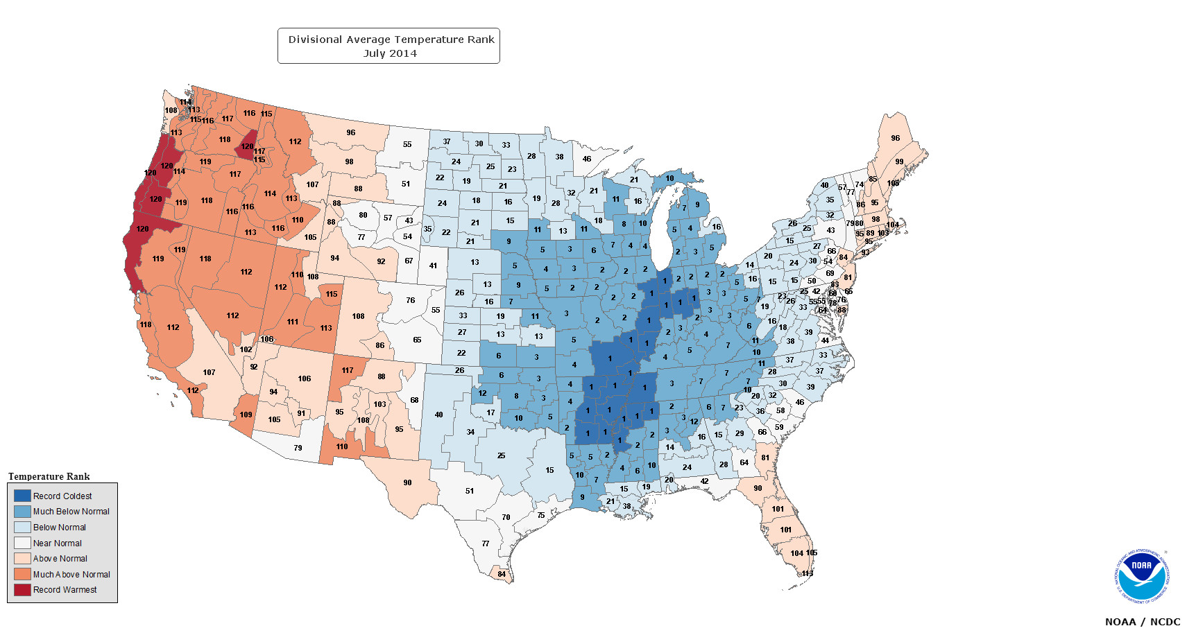 Cool Maps of the Cool July Illinois State Climatologist